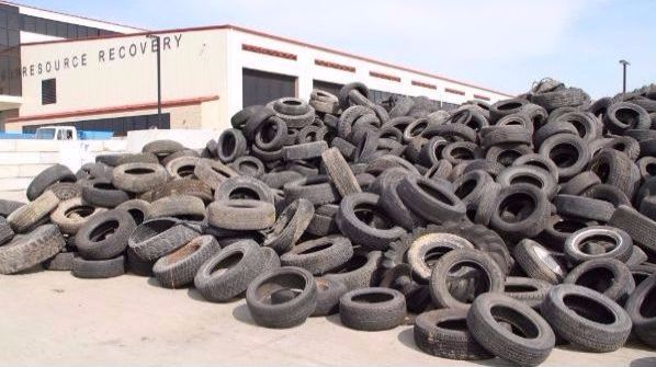 Tires are banned from the landfill, but are accepted for recycling for a fee